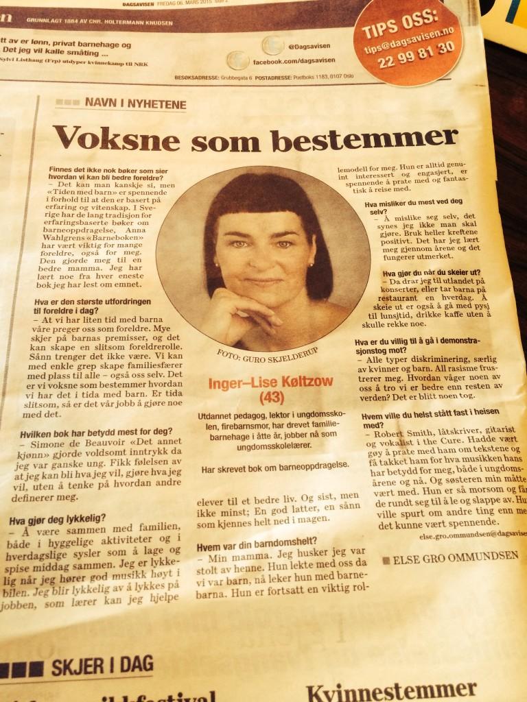 """To dager før hovedartikkelen om """"Tiden med barn"""" trykkes lager Dagsavisen en liten fin sak på Køltzow i spalten deres """"Navn i nyhetene""""."""